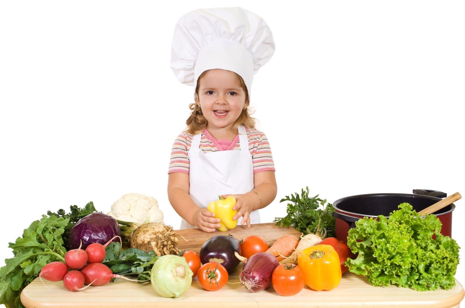 Kid Preparing a bunch of healthy food for immediate consumption.