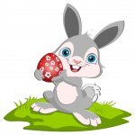 Animated Easter Bunny Holding an Egg, posing for pictures at your next Easter Event!