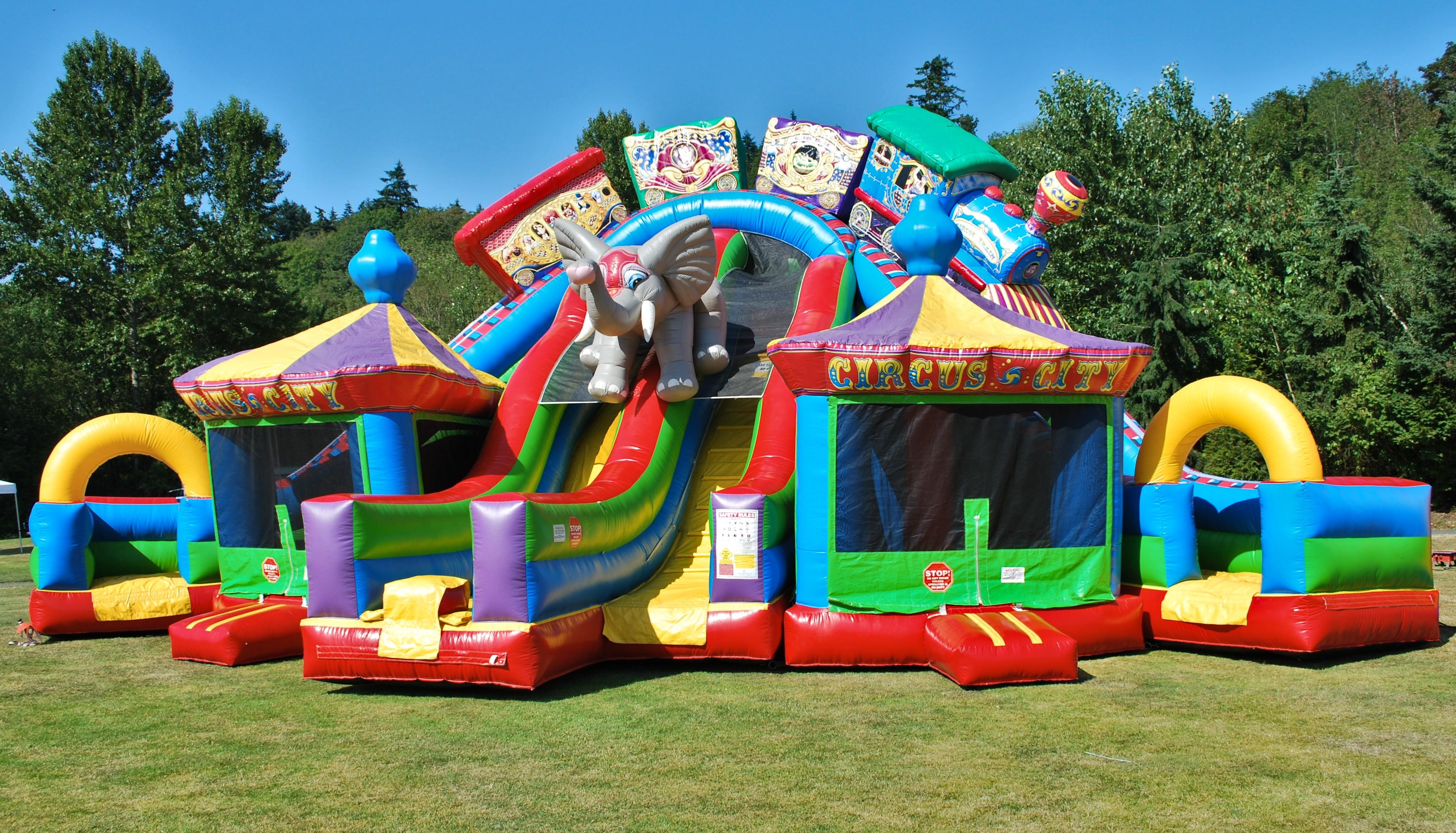 Circus City Triple Lane Inflatable Slide And Bounce House