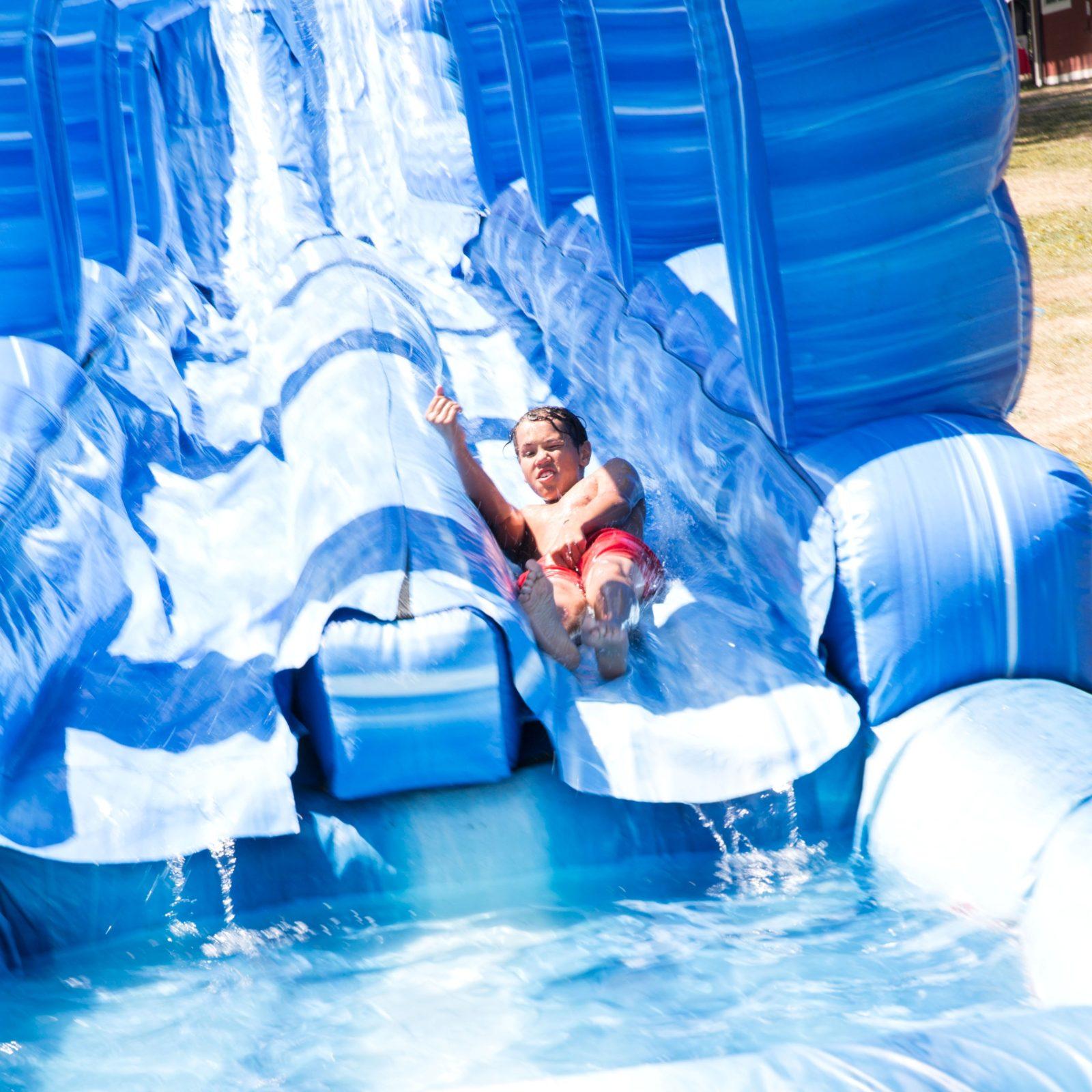 Raging Rapids Xtreme Inflatable Water Slide: 100-ft Long Blue Crush Water Slide Rental