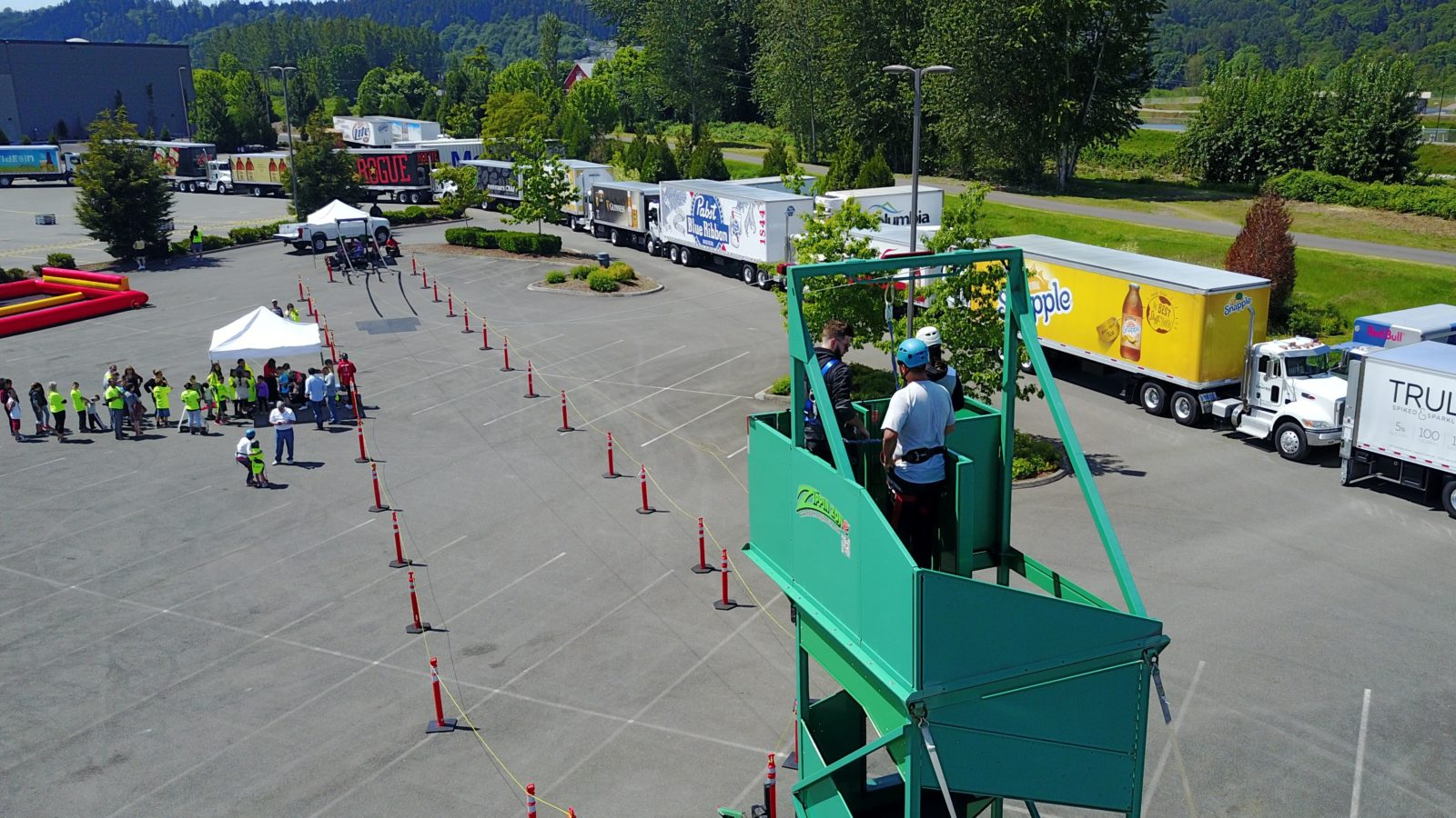 mobile zip line rental at a company party