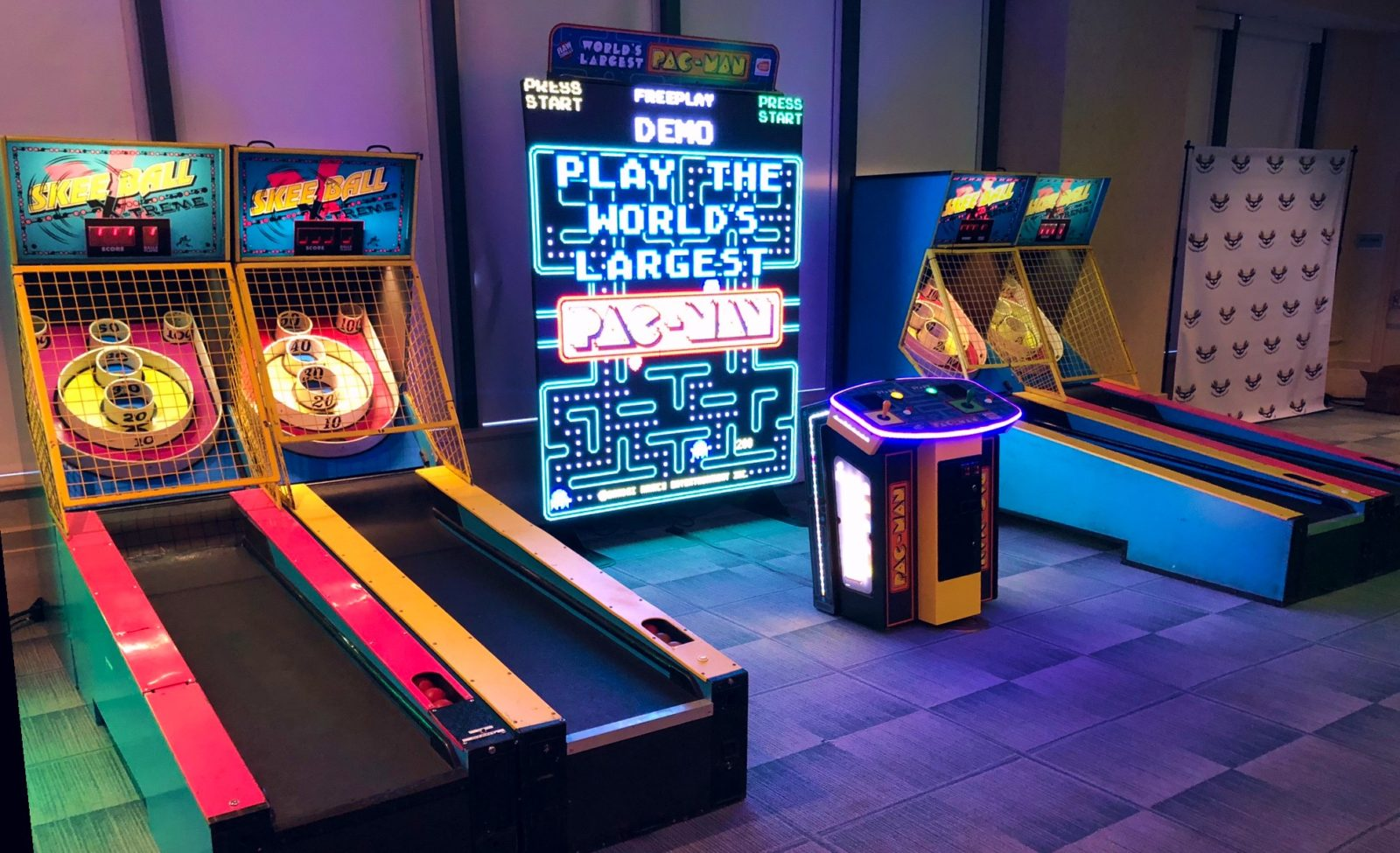 arcade game room at a company party