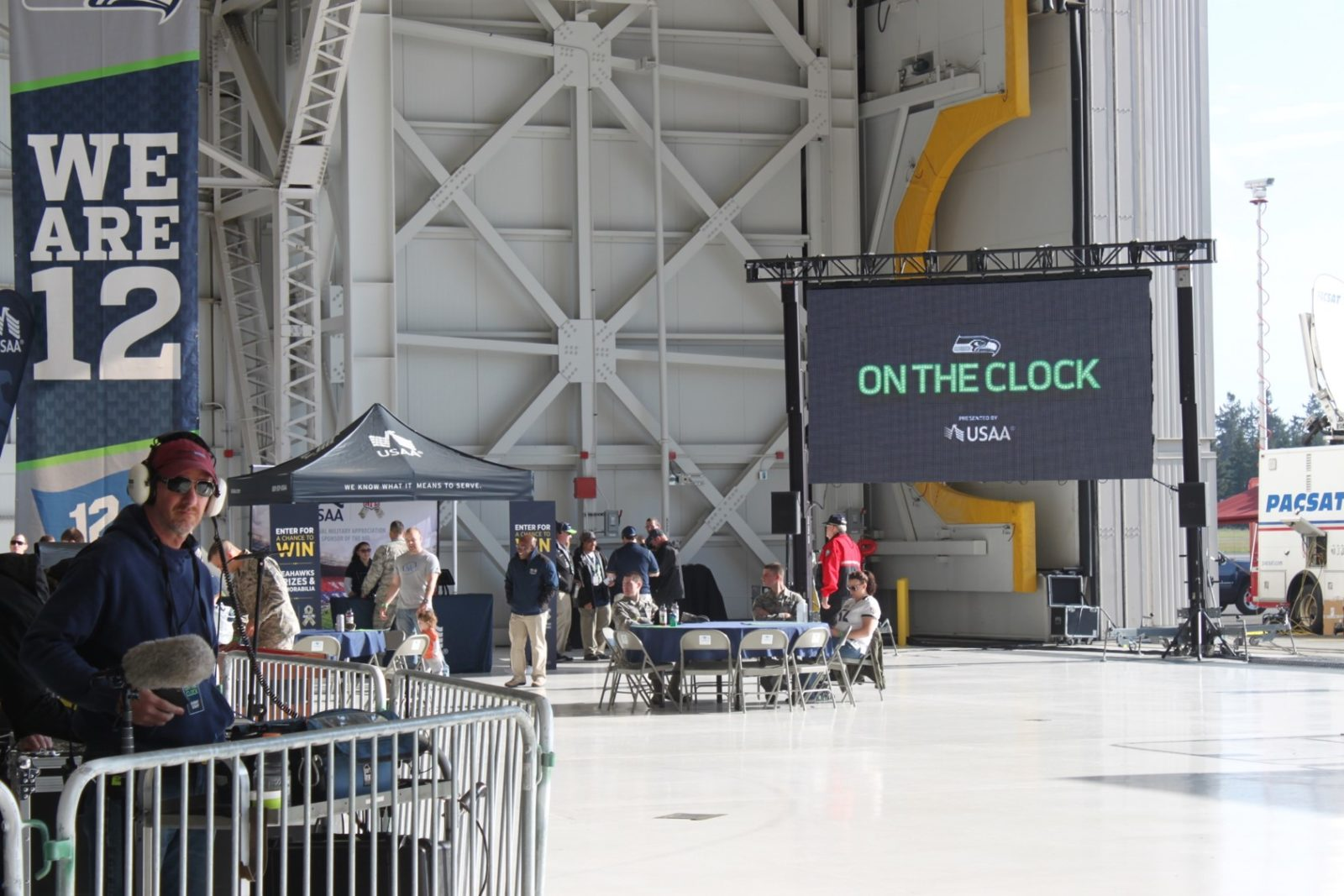 Seattle Seahawks fan event in an aircraft hangar