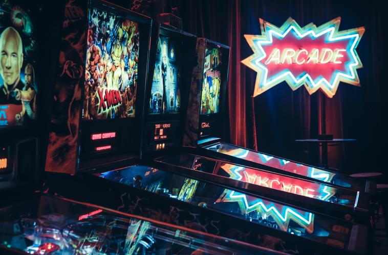 pinball machine rental with arcade event decor