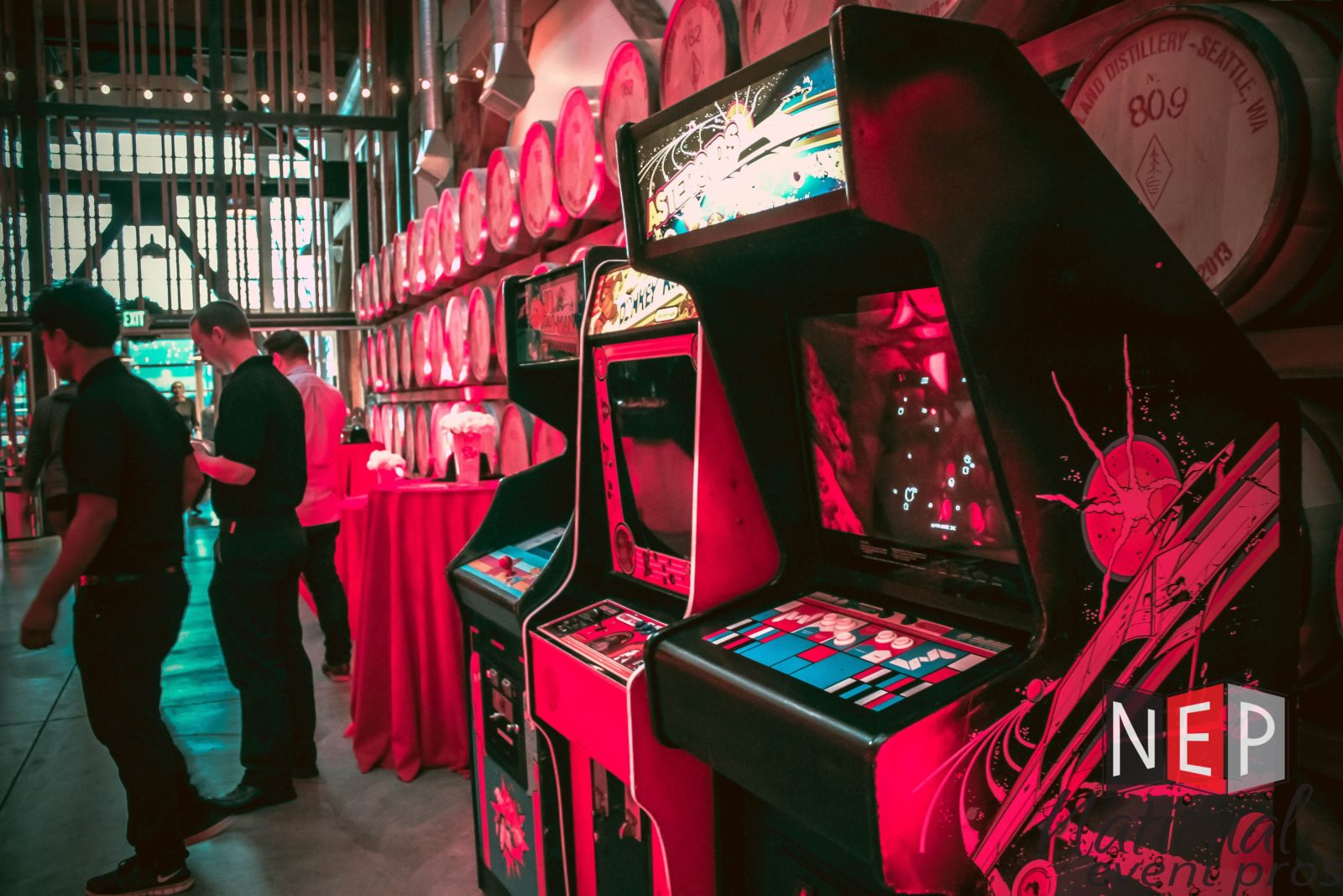 classic arcade games at a holiday party
