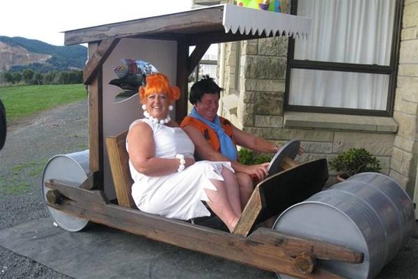 homemade Flintstones car