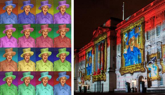Projection of animated historic portraits on the walls of a historic building