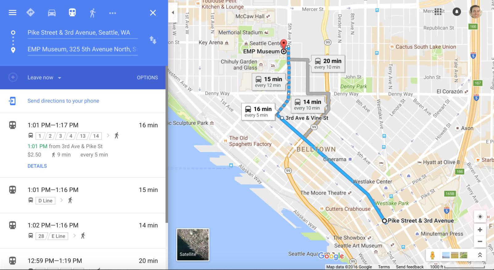 public transit route on Google Maps
