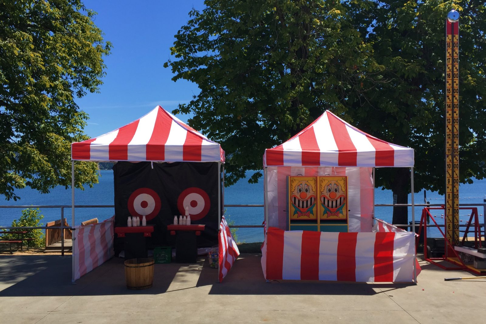 classic carnival booths at a company picnic