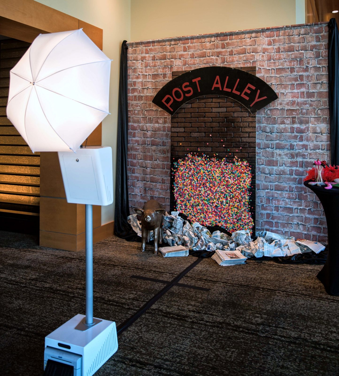 Open Air Photo Booth rental with Seattle Pike Place Market backdrop