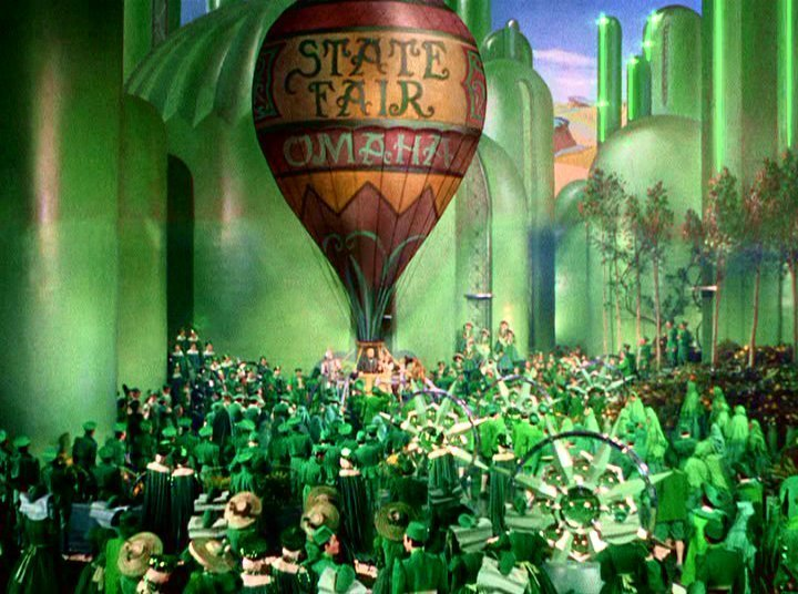 hot air balloon in the Emerald City in The Wizard of Oz
