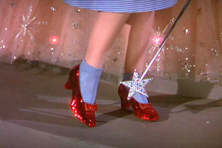 ruby slippers in The Wizard of Oz