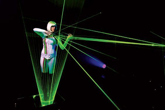 futuristic laser art stage performance