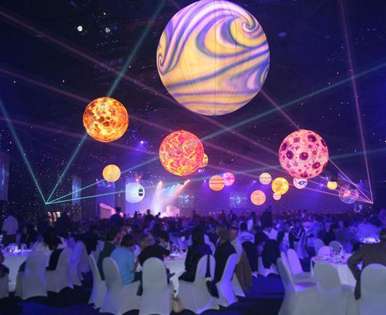 space-themed event decoration