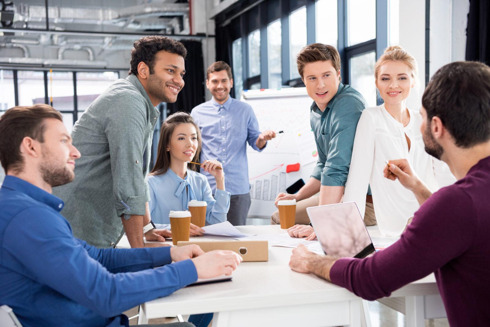 coworkers brainstorming