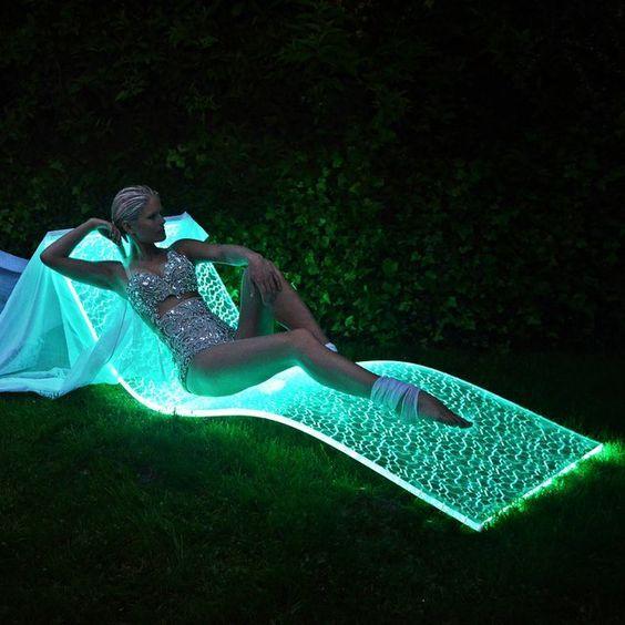 glowing fiber optic LED pool chair