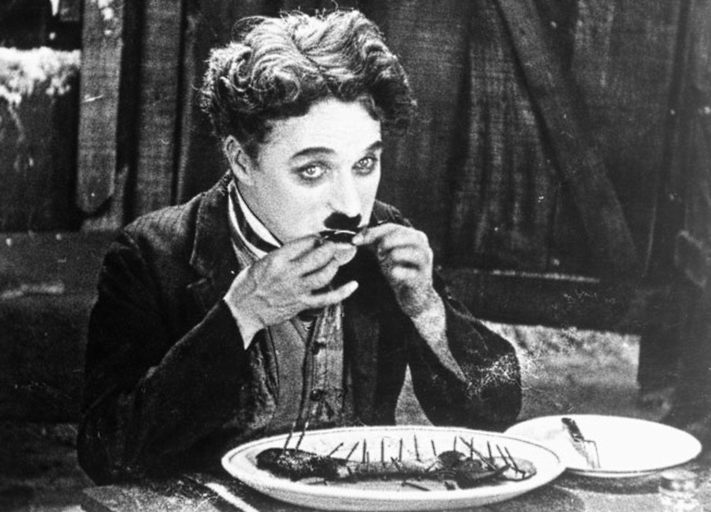Charlie Chaplin with a mustache