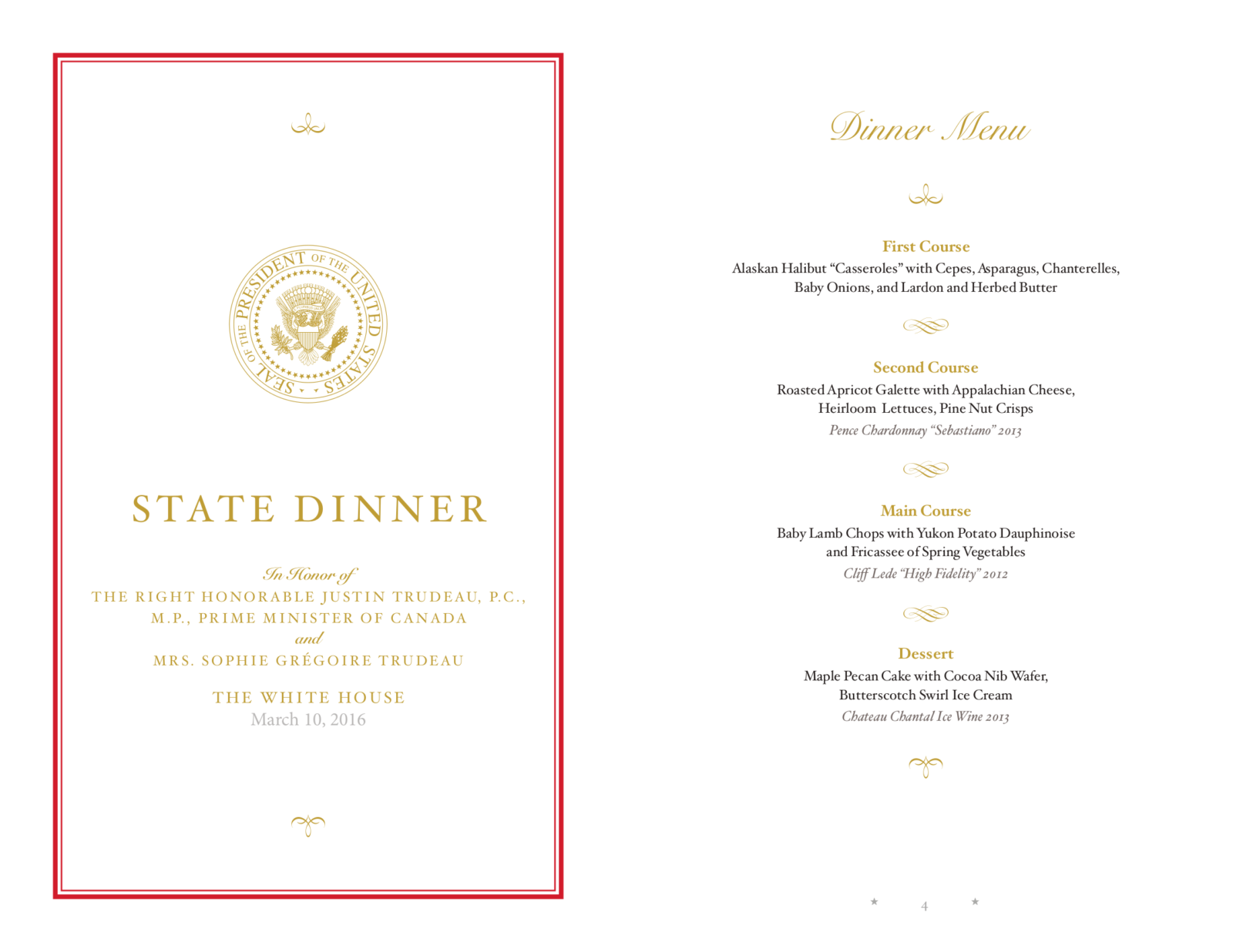 Menu from the March 10th White House State Dinner