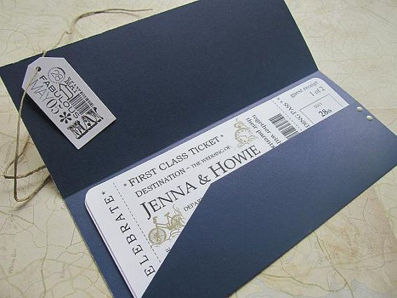 plane ticket–themed party invitation