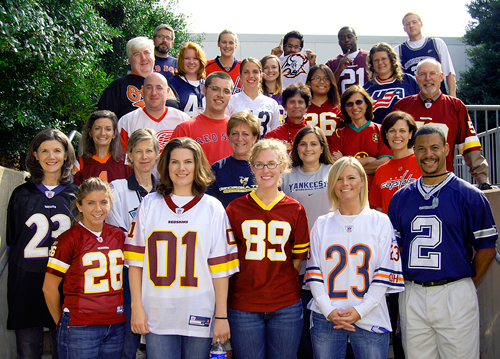 people wearing sports jerseys