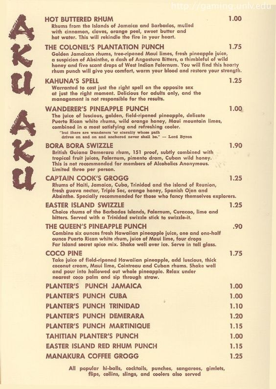 vintage menu from the Stardust Hotel