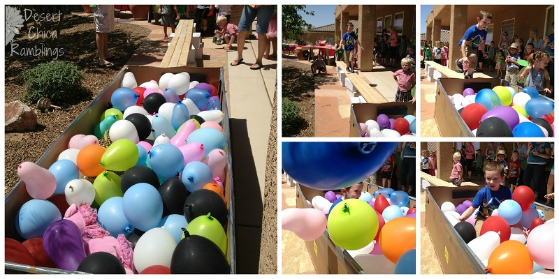 kids walk the plank balloon pit