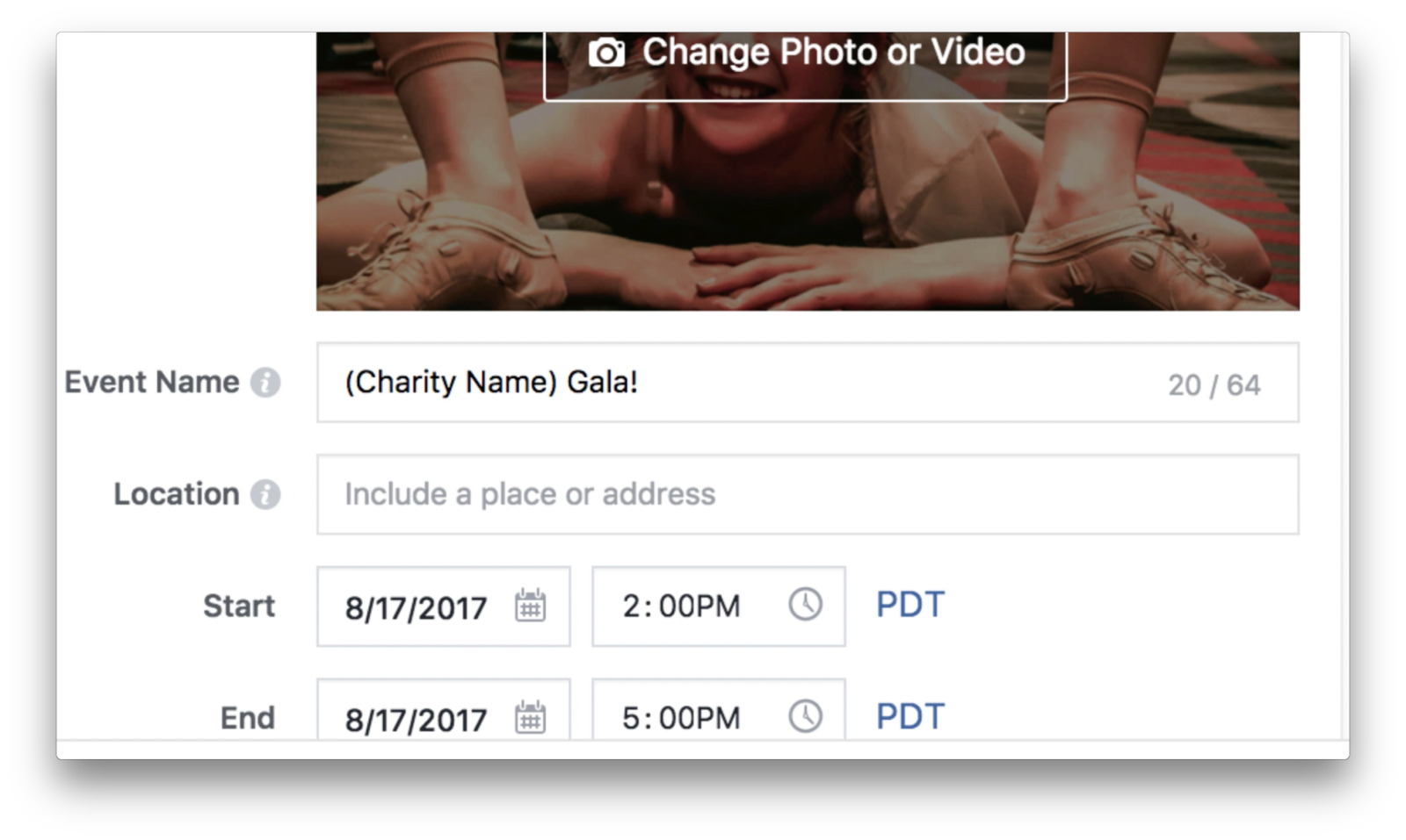 Facebook event invite