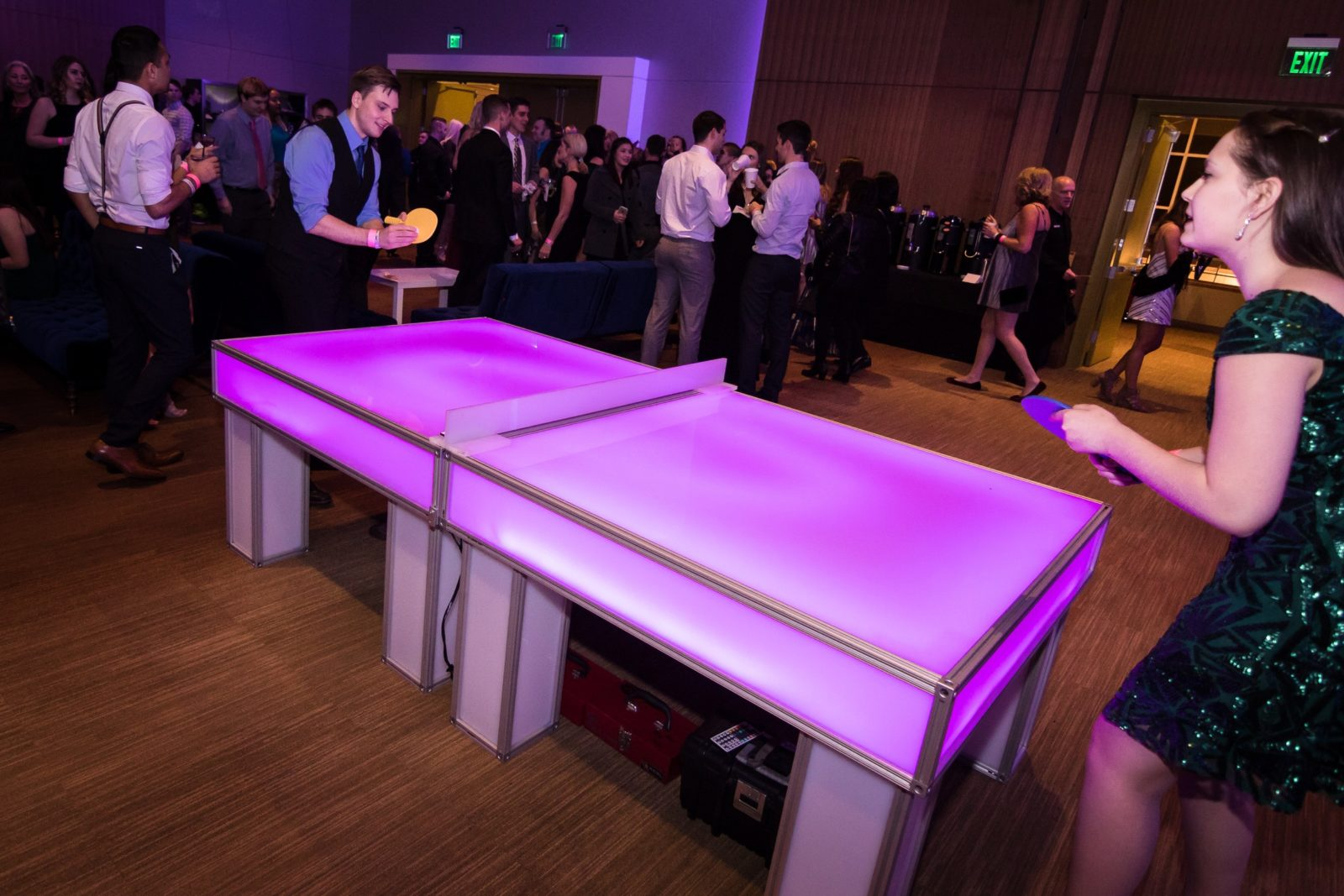 Glowing Led Ping Pong Table Rental National Event Pros
