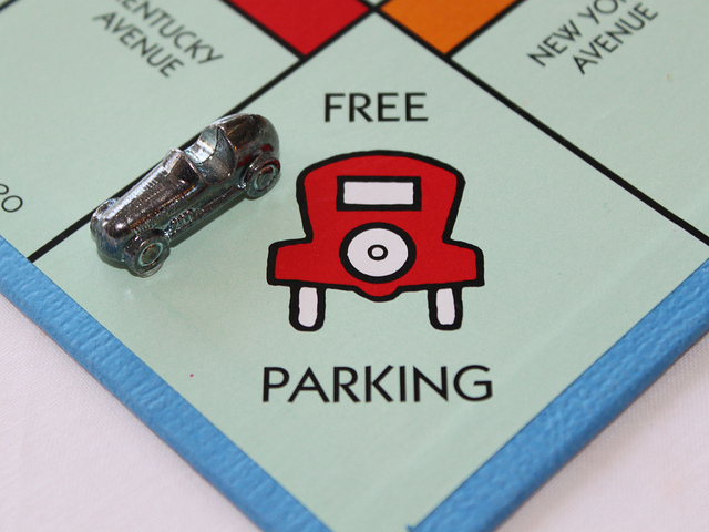 monopoly themed parking pass