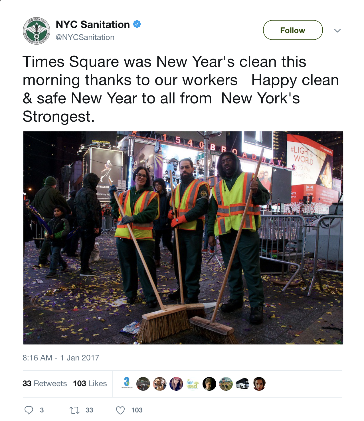 NYC Sanitation Tweet