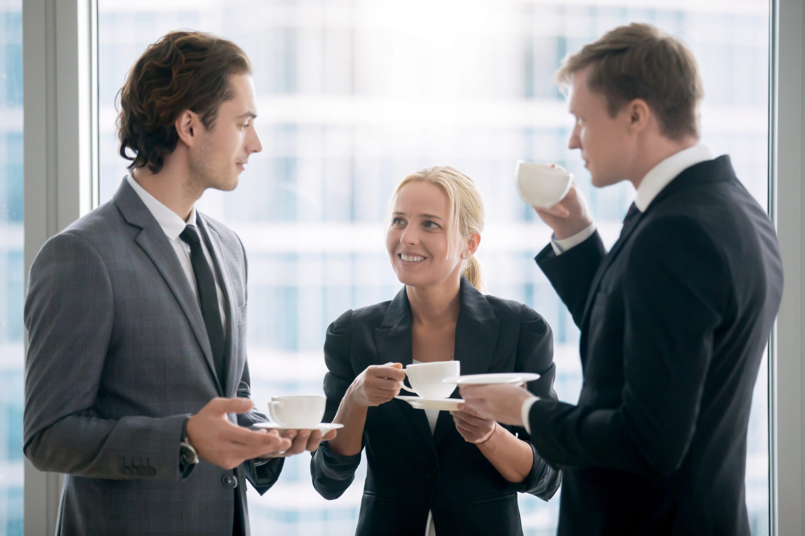 employees meeting over coffee