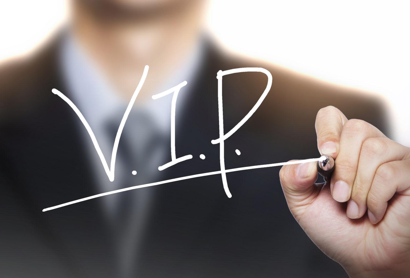 man spelling VIP