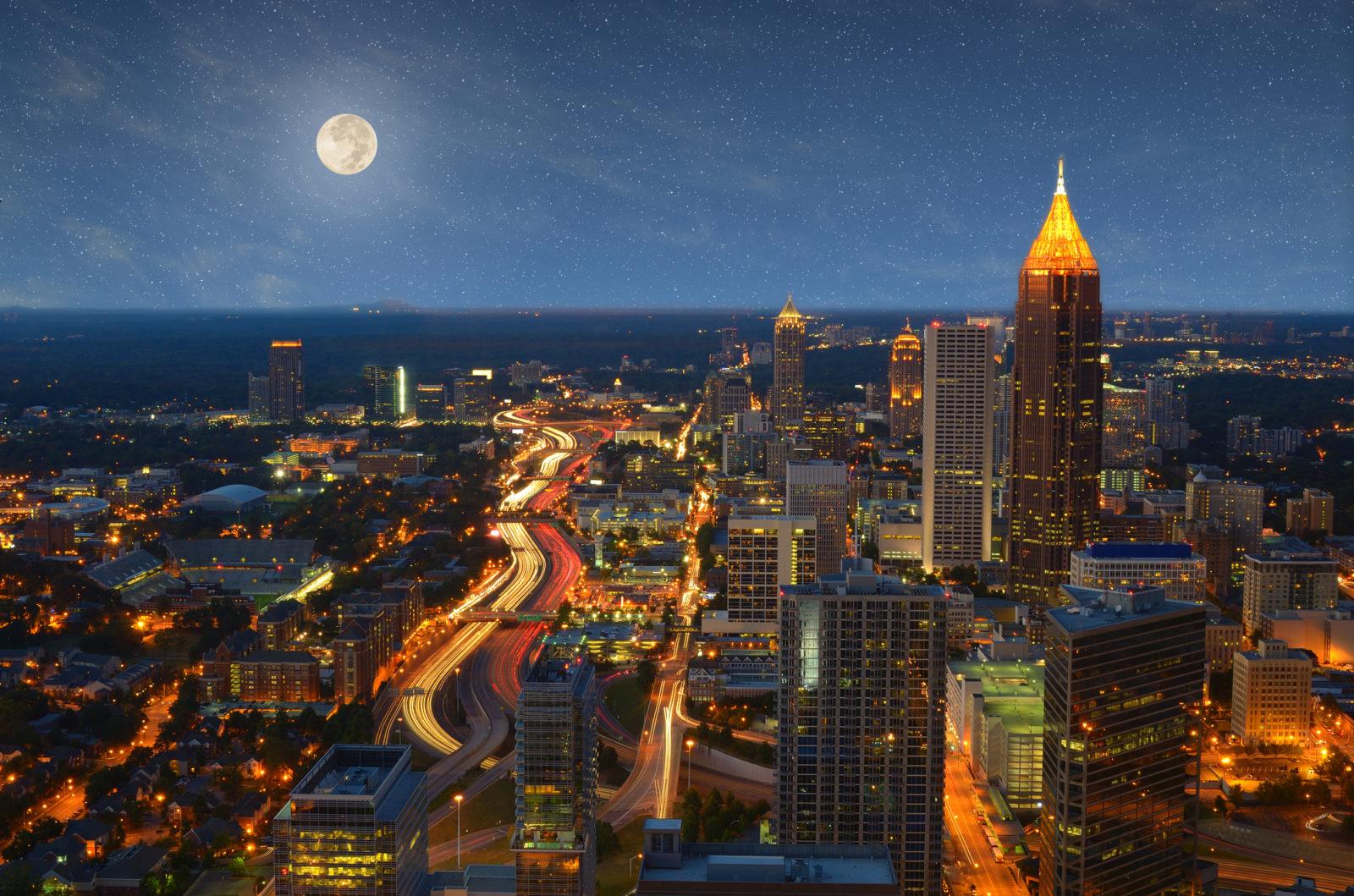 Atlanta skyline with moon