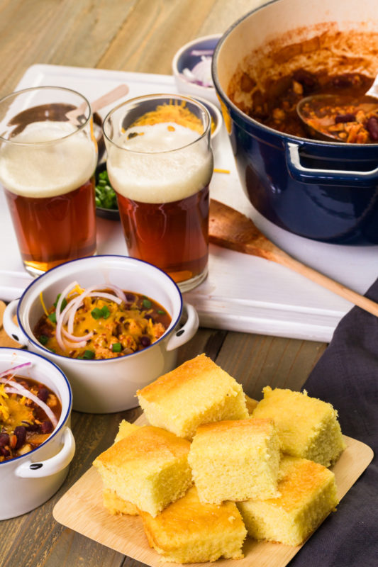 cornbread chili with beer