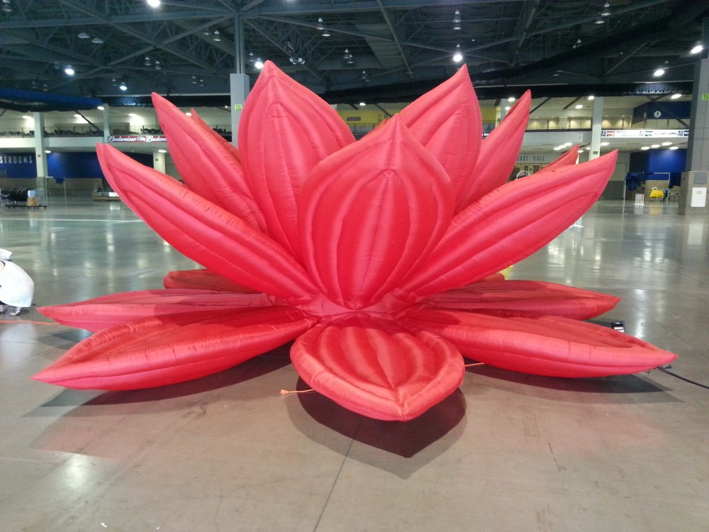 red lotus sculpture