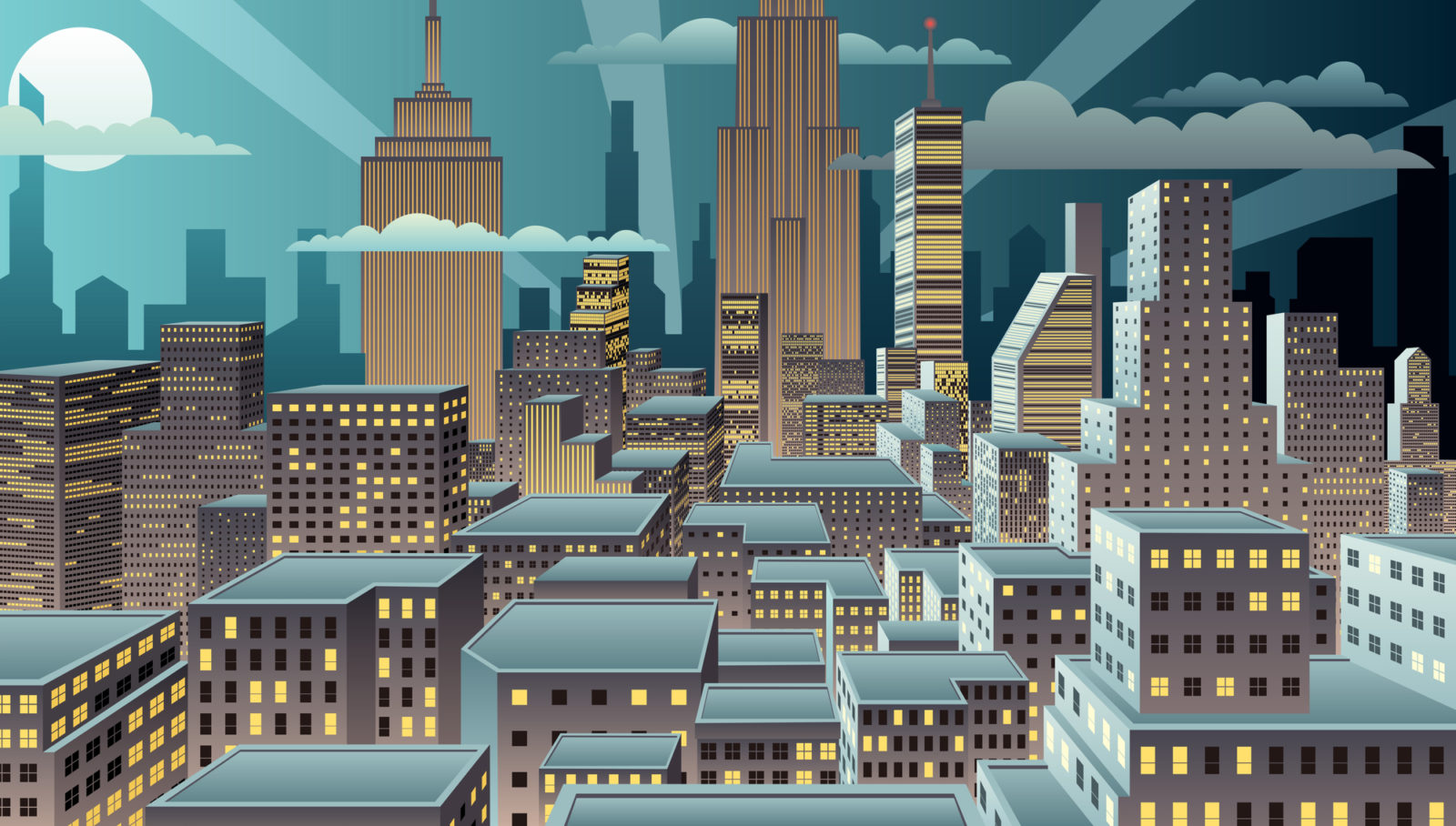 comic book city skyline