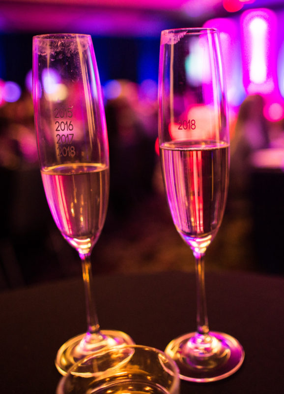 custom special event champagne glass