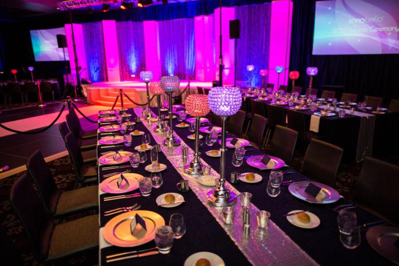 fancy dinner event decor