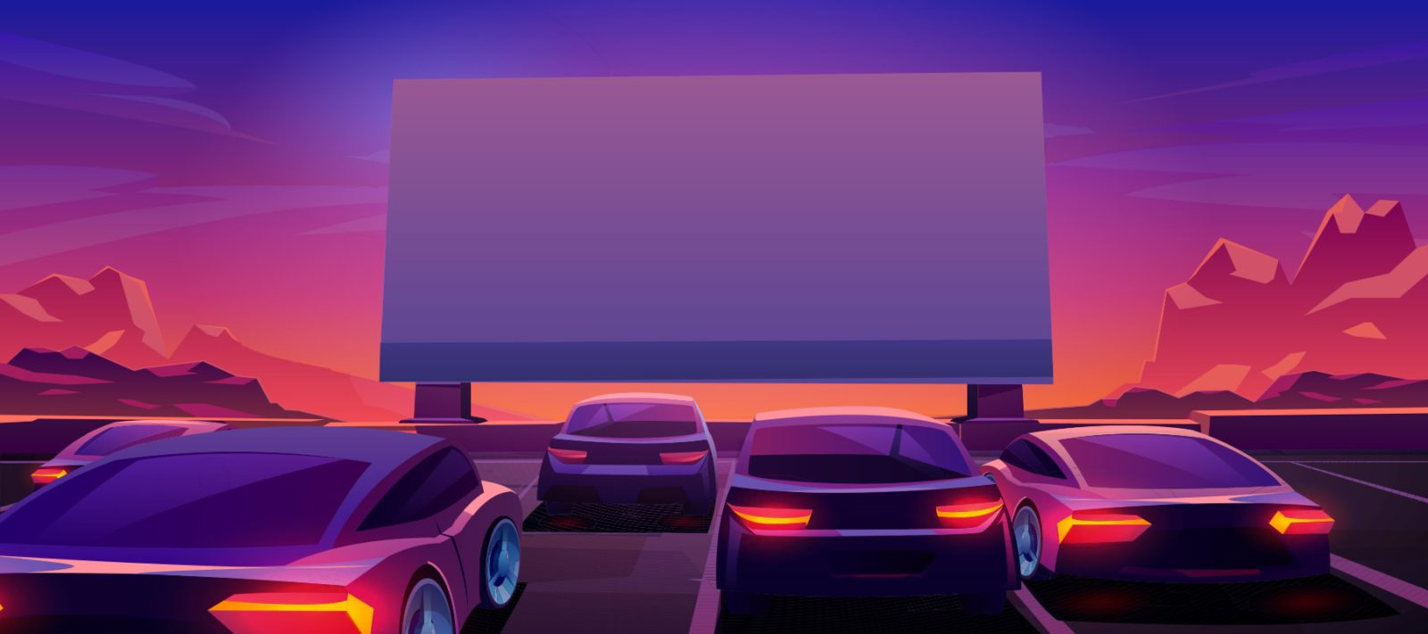 Illustration of Drive-In Theater - Sunset